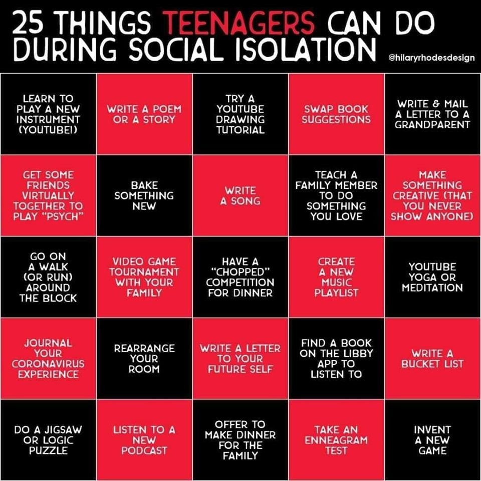 25 things teens can do during social isolation